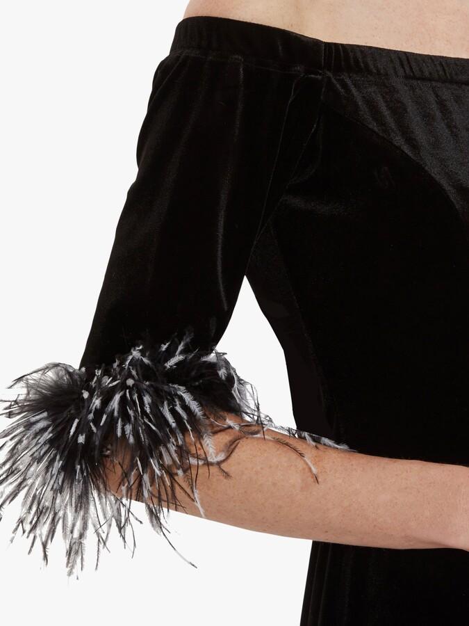 Thumbnail for your product : Gina Bacconi Jorelle Velvet Bardot Dress, Black