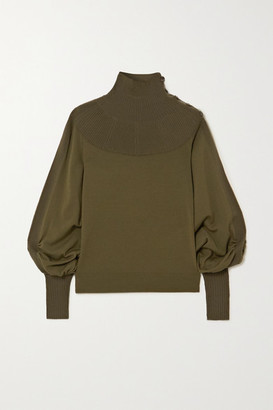 Chloé Ribbed Wool Turtleneck Sweater - Green