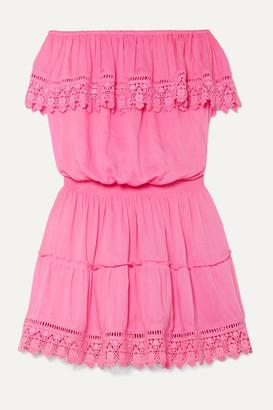 Melissa Odabash Joy Strapless Crochet-trimmed Voile Mini Dress - Pink