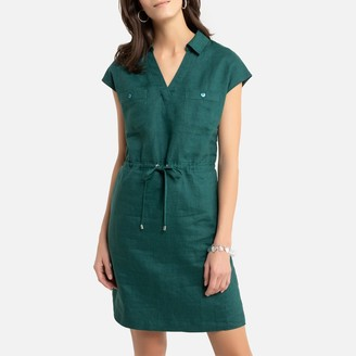 Anne Weyburn Linen Short-Sleeved Shift Dress