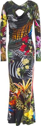 Roberto Cavalli Embellished Cutout Satin-jersey Maxi Dress