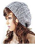 Fashion Winter Women Lady Beret Braided Baggy Beanie Crochet Knitting Hat Cap (Light Grey) by ArRord
