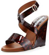 Diane von Furstenberg Wilma Patent Wedge Sandal, Tortoise