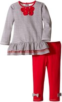 Petit Lem Baby-Girls Newborn Holiday Flowers Dress and Legging Set