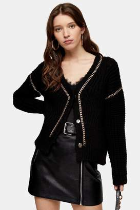 Topshop Black Chain Detail Knitted Cardigan