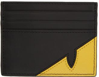 Fendi Black and Yellow Bag Bugs Mono Eye Card Holder