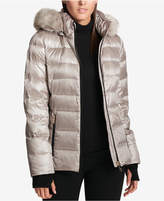 DKNY Faux-Fur-Trimmed Down Puffer Coat