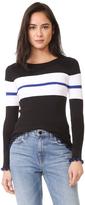 525 America Ruffle Edge Stripe Sweater