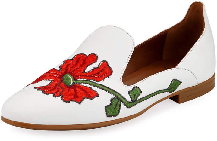 Aquatalia Emmaline Floral-Embroidered Leather Loafer