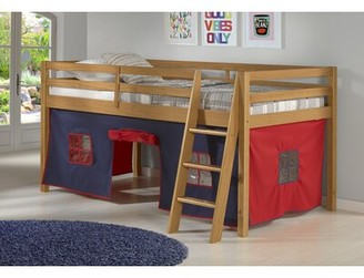 Zoomie Kids Gladwin Junior Twin Low Loft Bed with Tent Bed Frame Color: Cinnamon, Accessory/Fabric Color: Blue/Red