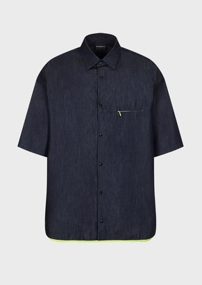 Emporio Armani Denim-Look Twill Shirt With Zipped Pockets