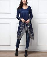 R&B Women's Tunics Navy - Navy Floral Lace Border Handkerchief-Hem Tunic - Women & Plus