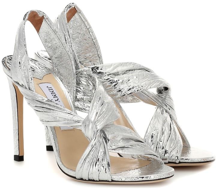 Jimmy Choo Lalia 100 metallic leather sandals