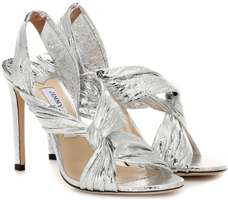 Jimmy Choo Lalia 100 metallic leather sandals