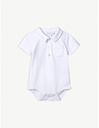 The Little White Company Patch-pocket short-sleeved cotton bodysuit 0-24 months