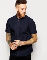 Ymc Shirt With Baseball Neck In Cotton Poplin In Navy - Navy