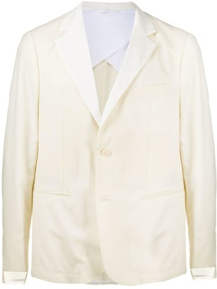 Maison Flaneur Contrast Collar Single-Breasted Blazer