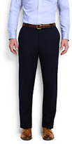 Classic Men's Tailored Fit Stretch Blend Chalk Stripe Trousers-Navy Plaid