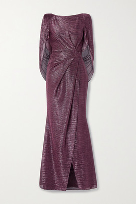 Talbot Runhof Socrates Cape-effect Draped Metallic Voile Gown - Pink