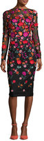 Lela Rose Floral-Embroidered Long-Sleeve Dress, Multi