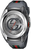 Gucci Men's Swiss Quartz Stainless Steel and Rubber Casual Watch, Color:Grey (Model: YA137109)