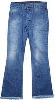 Stella McCartney Blue Denim Cropped Jeans With Fringed Hem