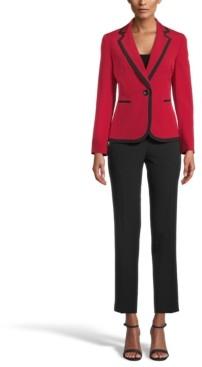 Le Suit Petite Stretch Crepe Contrast-Trim Pantsuit