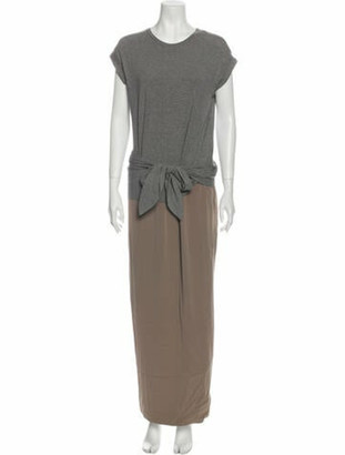 Brunello Cucinelli Crew Neck Long Dress Grey