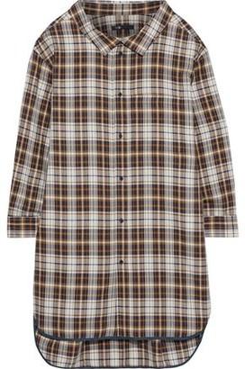 Maje Romel Checked Twill Mini Shirt Dress