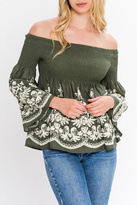 Flying Tomato Embroidered Off Shoulder Top