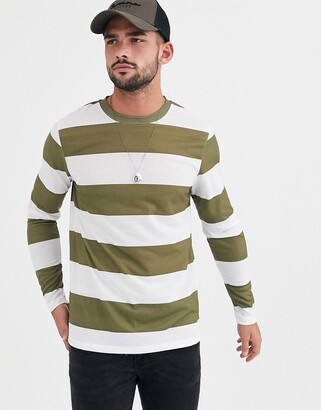 Asos Design DESIGN long sleeve wide stripe t-shirt in green and white-Multi