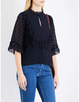 See by Chloe Ruffled polka dot-embroidered chiffon blouse