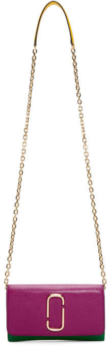 Marc Jacobs Pink and Green Snapshot Chain Wallet Bag