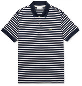 Lacoste Striped Cotton-jersey Polo Shirt - Navy