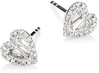 Meira T 14K White Gold & Diamond Heart Stud Earrings