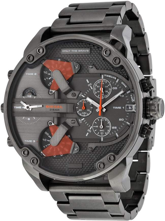 Diesel The Daddies Chronograph Four Time Zone Dial Gunmetal Ion-plated Men's Watch