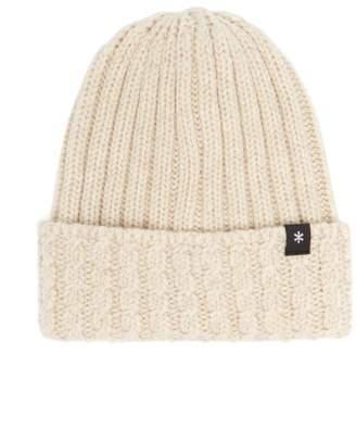Snow Peak Logo-tab Knitted-wool Beanie Hat - Mens - Beige