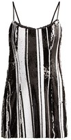 Halpern Striped Sequinned Mini Dress - Womens - Black White