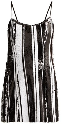 Halpern Striped Sequinned Mini Dress - Black White