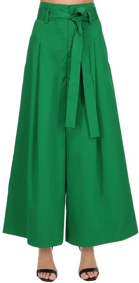 Krizia High Waist Wide Leg Cotton & Silk Pants