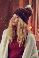 Urban Outfitters Chunky Knit Faux Fur Pompom Beanie