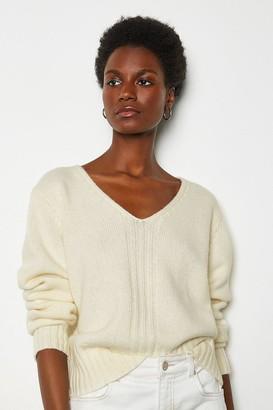 Karen Millen V-Neck Cropped Cashmere Blend Jumper