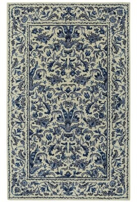 Capel Rugs Garden Farms #3 Hand Tufted Beige/Azure Area Rug Rug Size: 3' x 5'