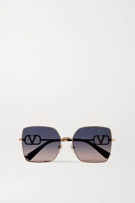 Valentino Garavani Allure Vlogo Square-frame Crystal-embellished Rose Gold-tone Sunglasses - Pink