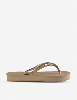 Havaianas Slim Flatform glitter rubber flip-flops