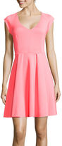 BELLE + SKY Pleat Skater Scuba Dress