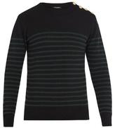 Balmain Buttoned-shoulder Crew-neck Cashmere Sweater