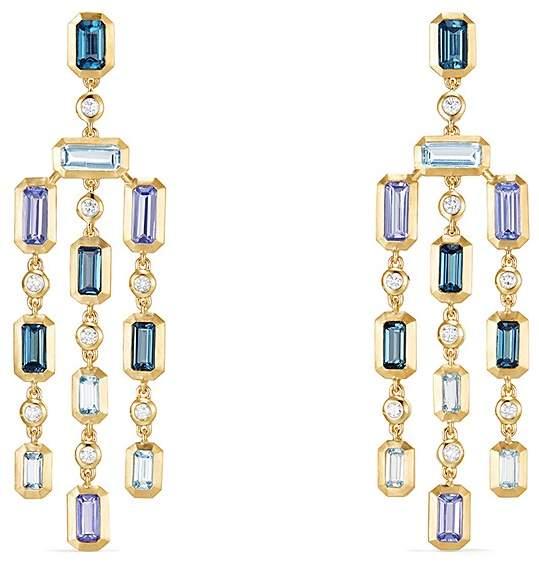 David Yurman Novella Earrings in Hampton Blue Topaz, Aquamarine & Tanzanite with Diamonds