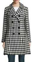 Sofia Cashmere Houndstooth Double-Breasted Princess Coat