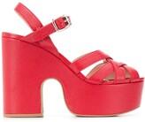 Miu Miu Madras leather strappy sandals